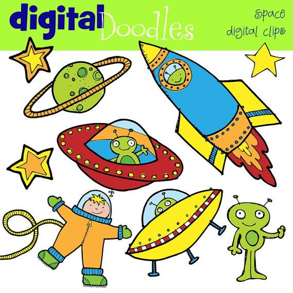 INSTANT DOWNLOAD Outer space digital clipart via Etsy