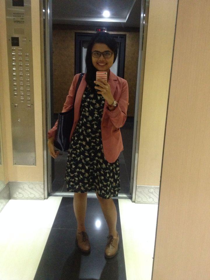 Little blue dress with pink blazer.