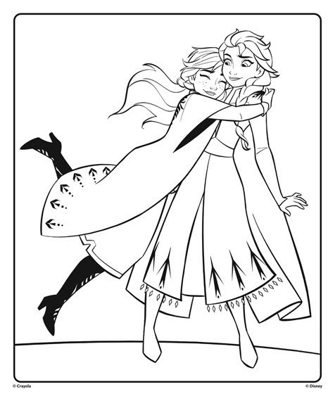 Anna And Elsa From Disney Frozen 2 Hugging Coloring Page Crayola Com Disney Frozen 2 Frozen Coloring Pages Elsa Coloring Pages Disney Princess Coloring Pages