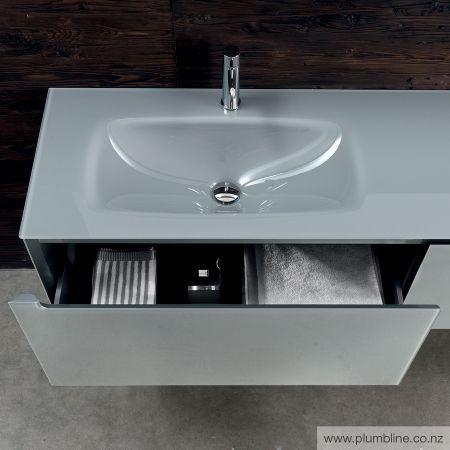 Edge 1600x450H Vanity LH Basin - Gloss Iron Glass Top & Cabinet - Bathroom…