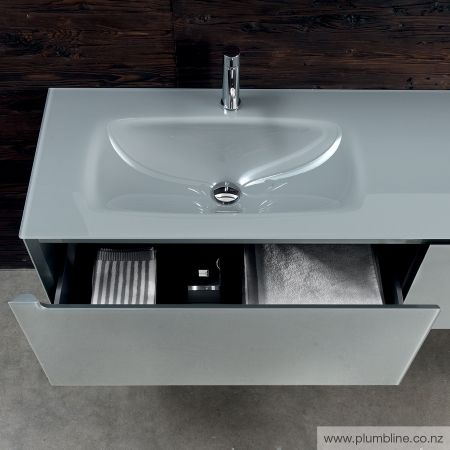 Edge 1600x450H Vanity LH Basin - Gloss Iron Glass Top & Cabinet - Bathroom…
