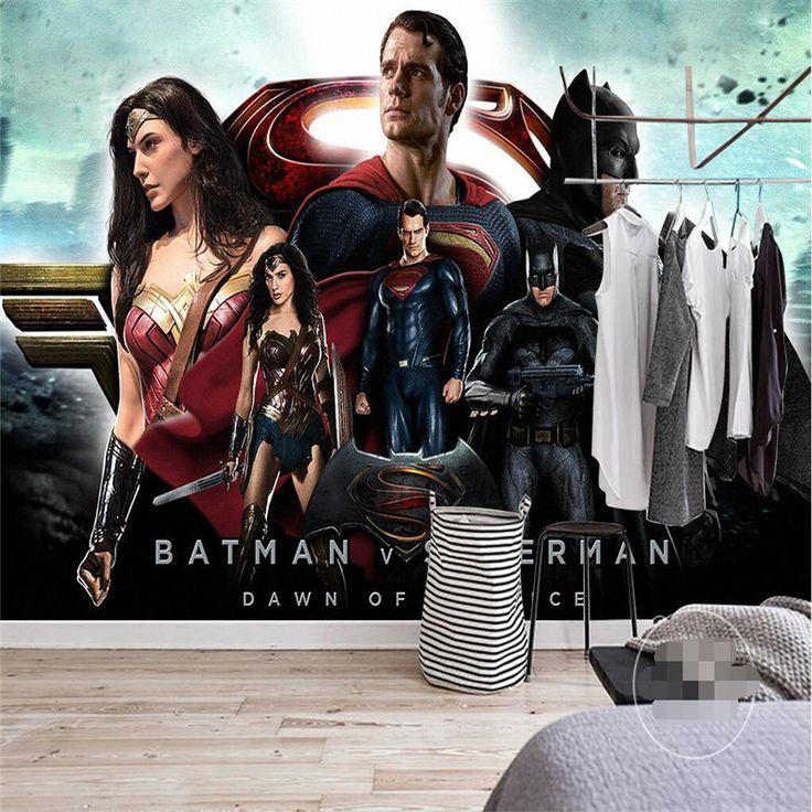 photo wallpaper Hollywood movie theme Batman, Superman herowall paper living room home decor 3D large Wall Mural Wallpaper-3d #Affiliate