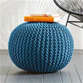 Knitted Ottoman - Blue Petrol | Kmart