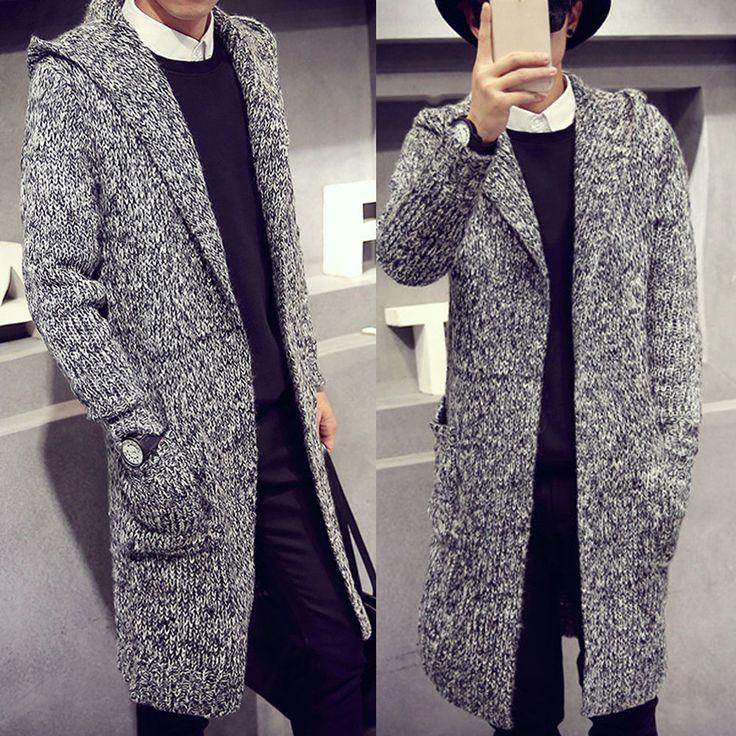 Trendy Mens Long Coat Knitted Sweater Long Sleeve Slim Dust Outwear Jacket