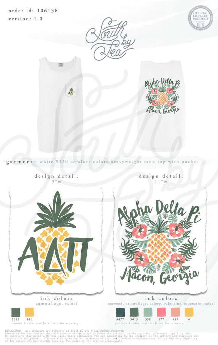 Alpha Delta Pi | ADPi | Floral Pineapple Tank Design | Sorority Summer Pocket Tank | South by Sea | Greek Tee Shirts | Greek Tank Tops | Custom Apparel Design | Custom Greek Apparel | Sorority Tee Shirts | Sorority Tanks | Sorority Shirt Designs