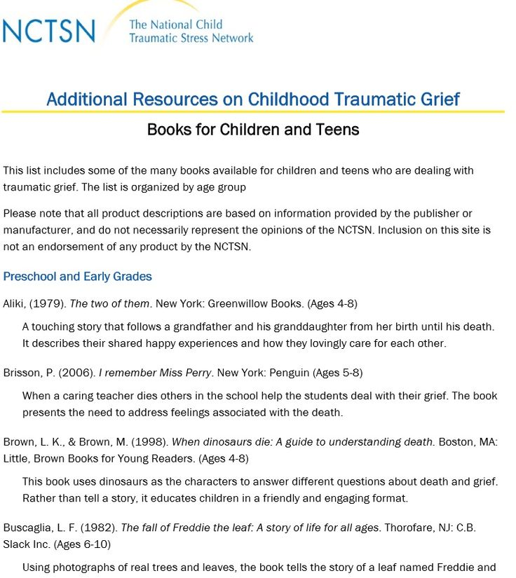 Additional Resources for Childhood Traumatic Grief -Books for Children and  Teens