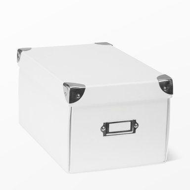 Förvaringsbox med lock, 26x15,5, vit