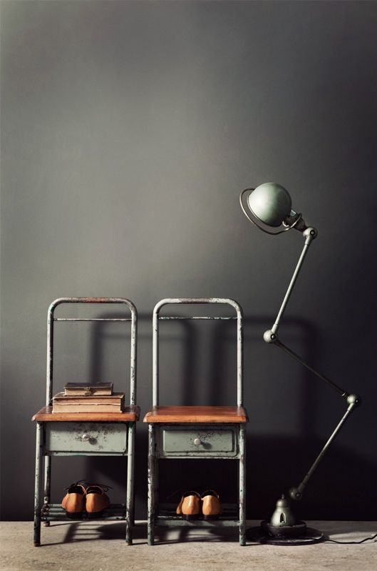 Industrial chairs, shoes, lamp #Anthropologie #PinToWin