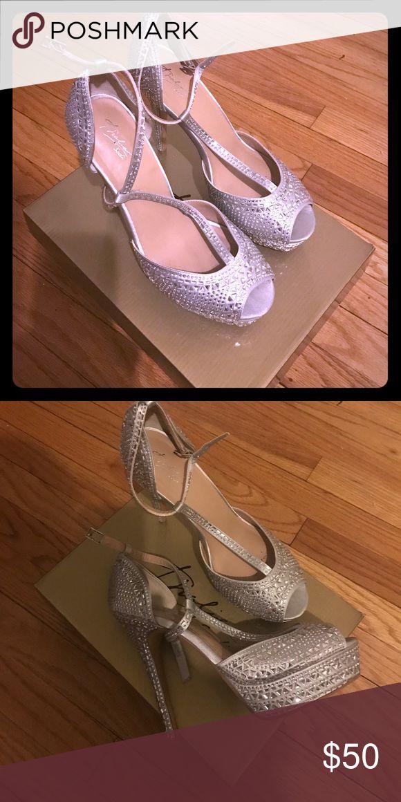 Silver Rhinestone Platform Peep Toe Pumps Worn Twice, elegant rhinestone silver Platform peep toe pumps. All reasonable offers considered 😀 Thalia Sodi Shoes Heels