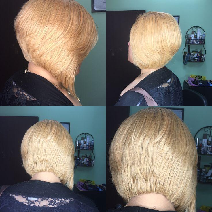 Blonde a line bob full weave