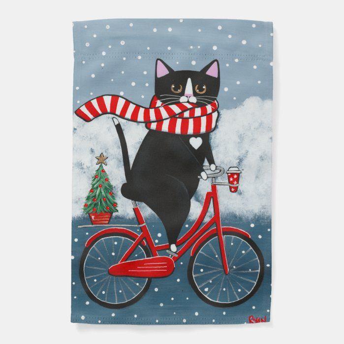Tuxedo Cat Bicycle Ride With, Tuxedo Cat Garden Flags