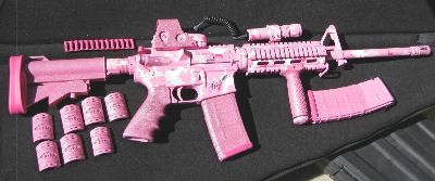 GOE Gun Works--gotta get a paint job like this. Light pink camo with sparkles!! lol