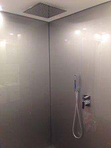 Shower Metallic Silver Acrylic splashback by ozziesplash.com.au