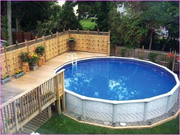 small backyard above ground pool decks cool oval pool ...