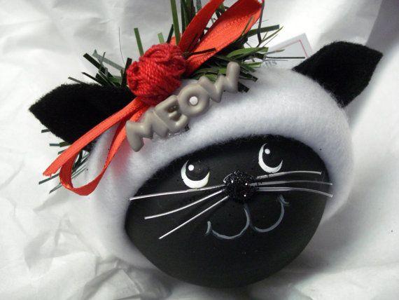 BLACK CAT Christmas Ornament Handmade Hand by TownsendCustomGifts, $19.95