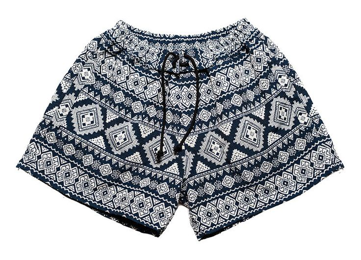 Women bohemian shorts in beautiful inca / flower design. Dark blue and white. by Aviimade on Etsy