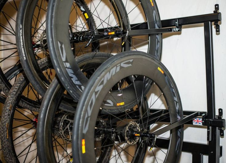 8 Bike Wheel Storage Rack http://www.procyclestorage.co.uk/product/8-bike-wheel-storage-rack/