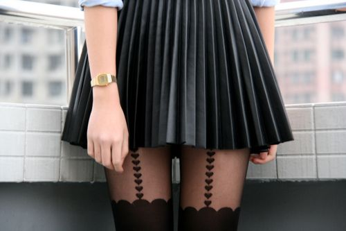 Cute..Fashion, Leather Pleated, Style, Clothing, Leather Skirts, Black Skirts, Tights, Pleated Skirts, Heart Suspenders