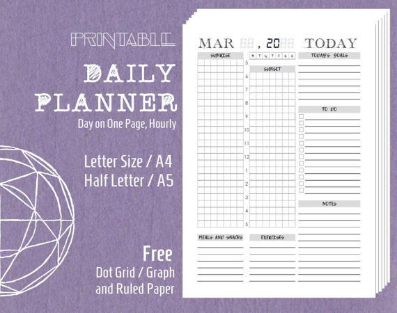 Printable Daily Planner Schedule Agenda 24 Hours Filofax