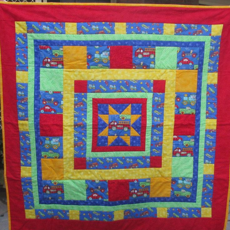 "Hand-made quilt, fire engine, boy's quilt , 41.5""x41.5"", one-of-a-kind, patchwork, baby quilt, boy birthday present, warm quilt, baby shower by LittleLarkClothing on Etsy"