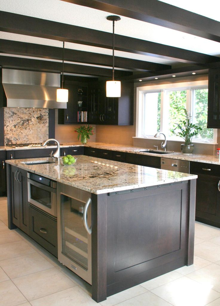 The working island appliances in the kitchen island - How to design a kitchen layout with island ...