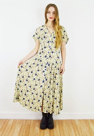 Grungy+90's+Pastel+Yellow+Floral+Summer+Midi+Dress+