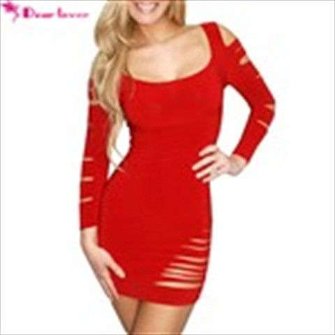 (DEAR LOVER) Tearing Long Sleeve Women Costume Teddies Lingerie KTV Night Club Wear for Party Stage Performance - Red