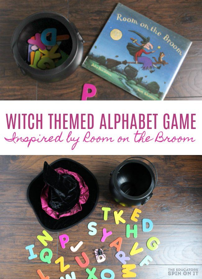 Witch Themed Alphabet Game inspired by Room on the Broom by Julia Donaldson. Includes printable witch alphabet game for Halloween Activity with Preschoolers! #alphabet #RoomOnTheBroom #halloween #printable #preschool