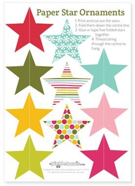 A Crafty Arab: 99 Creative Star Projects. Paper Star Ornaments Printables -paper decorations to print and make