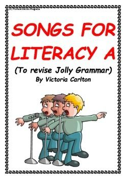 I wrote these songs to help children revise some of the main Jolly Grammar concepts and spelling rules.We have used them with our classes on a regular basis and they LOVE them.It has helped enormously for retention and understanding. This is the first of 3 booklets.