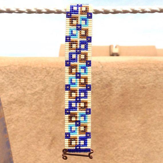 Square Deal Bead Loom Bracelet Artisanal Jewelry Native Motif