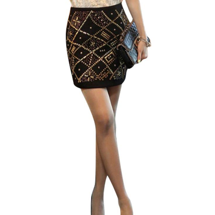 Высокая талия Bodycon юбка 2016 мода женщин бронзировать черные юбки Saia курта Feminino старинные мини-юбка-карандаш Большой размер S / 2XL