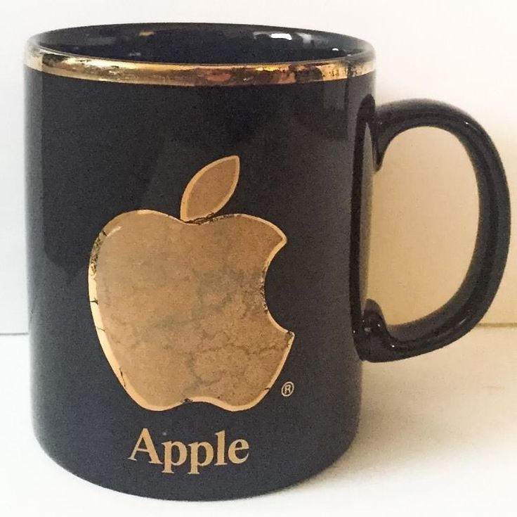 Vtg Apple Computers Coffee Mug Cup Black Golden Apple Power To Be Best Coloroll #Kilncraft