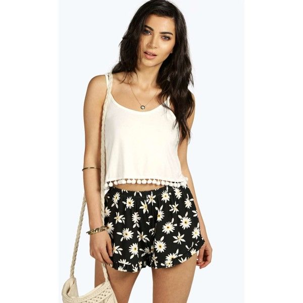 Boohoo Ella Daisy Print Frill Hem Shorts ($8) ❤ liked on Polyvore featuring shorts, embellished shorts, sequin hotpants, hot short shorts, daisy shorts and mid length shorts