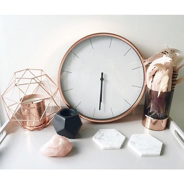 Kmart Copper Clock and geo candle holder