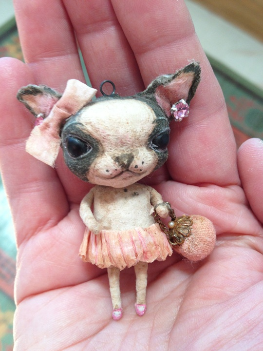 I'm dying !!!  Love this! Spun Cotton Batting Ornament Dressed Up Boston Terrier OOAK by Arbutus Hunter | eBay