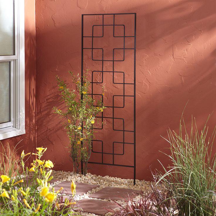 Garden Treasures 24 In W X 72 In H Black Contemporary Geometrics Garden  Trellis