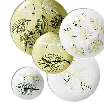 Set piatti + ciotoline foglie