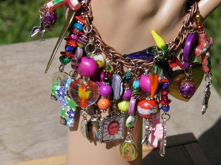 Day of the Dead Charm Bracelet Turquoise Sugar Skull Jewelry Frida Kahlo Halloween Jewelry Rockabilly Steampunk OOAK No.7. $49.99, via Etsy.