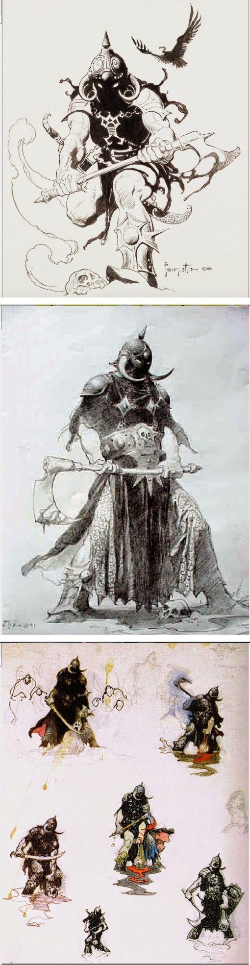 FRANK FRAZETTA - Death Dealer - 3 Sketches - prints by capnscomics.blogspot.com