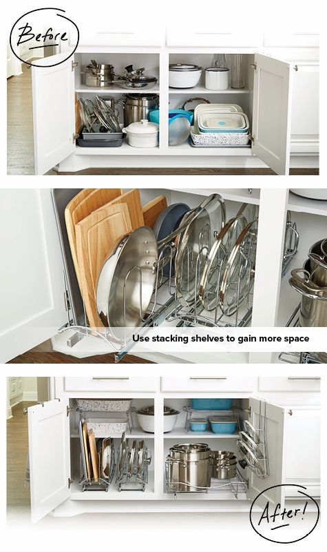 How To Organize Your Lower Kitchen Cabinets Lower Kitchen Cabinets Are Most  Often Used For Storing Pots And Pans, Baking Sheets, Appliances And Food  Storage ...