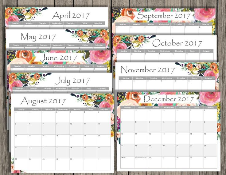 printable monthly calendars 2017