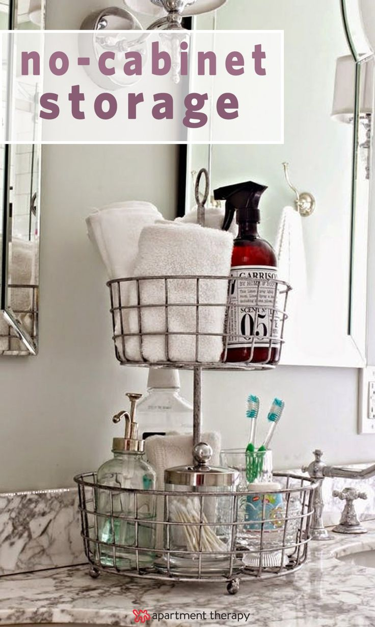It may seem like you've got no potential for stylish and functional storage, but all hope is not lost. There are plenty of ways you can sneak in extra storage in a cabinet-less bathroom. If you need inspiration, here are some solutions and projects to try.