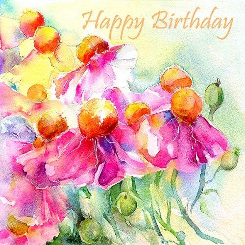 Картинки в акварели с днем рождения