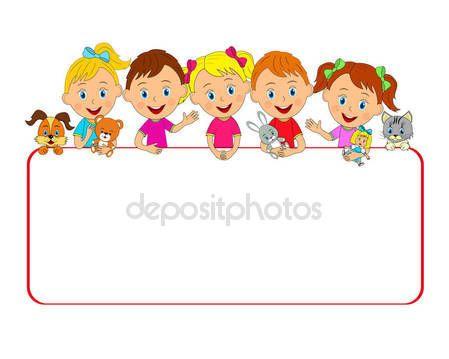Letöltés - Fiúk és lányok játékok és a keret — Stock Illusztráció #135501000