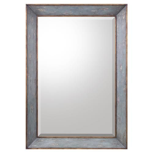 Camille French Country Antique Blue Gold Wall Mirror