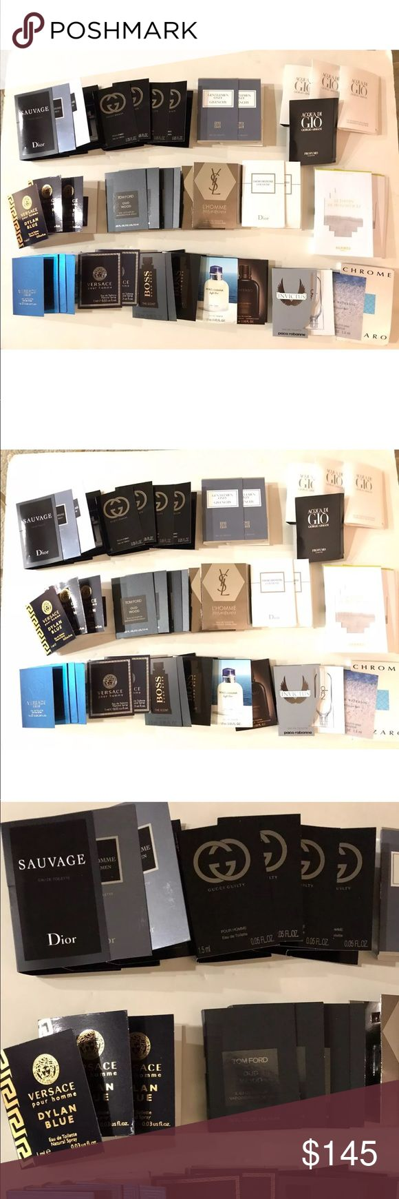 41 Designer Men's Cologne lot Gucci Dior Versace *4 VERSACE EROS 1ML *3 VERSACE DYLAN BLUE 1ML *2 VERSACE POUR HOMME 1 ML *2 DIOR HOMME 1ML *2 DIOR HOMME 1ML *1 DIOR SAVAGE 1ML *4 GUCCI GUILTY 1.5ML *2 GIVENCHY GENTLEMEN ONLY 1ML *4 TOM FORD OUD WOOD 1.5 ML *2 YSL HOMME 1.2 ML *3 ACQUA DI GIO 1.5ML *1 ACQUA DI GIO PROFUMO 1.5ML *2HERMES LE JARDIN DE MONSIEUR LI 2ML *3 HUGO BOSS THE SCENT 1 ML *DOLCE & GABBANA LIGHT BLUE 1.5ML *D&G INTENSO 1.5 ML *PACO RABANNE INVICTUS 1.5ML *CK2…