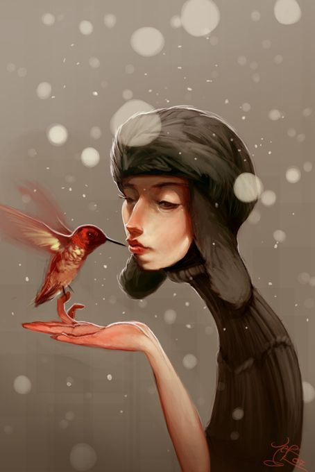"""Done for CGtalk's daily sketch thing """"Handle with care"""". Yay winter! I'm its only fan."""