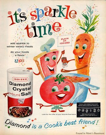 food ads | Great illustration in vintage ad for Diamond Crystal salt, 1960s
