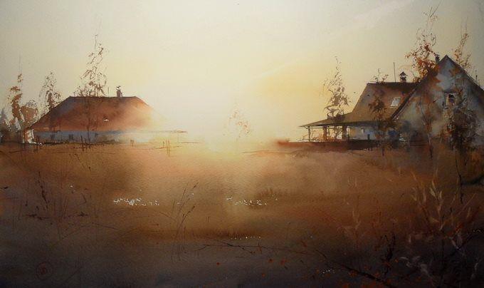 Ilya Ibryaev-SUNSET - watercolor (53х37) cm